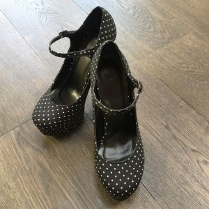 Polka Dot Mary Jane Platform Heels